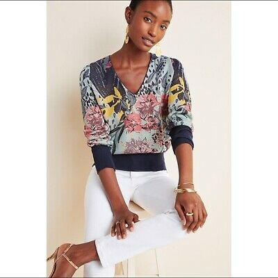 $ CDN85.96 • Buy Anthropologie Aldomartins Ace Floral V Neck Sweater Size XS