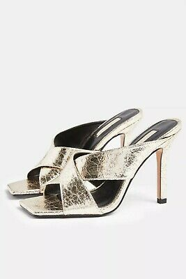 Top Shop SHAY Metallic Gold Cross Over Mules Size UK 4 • 17.99£