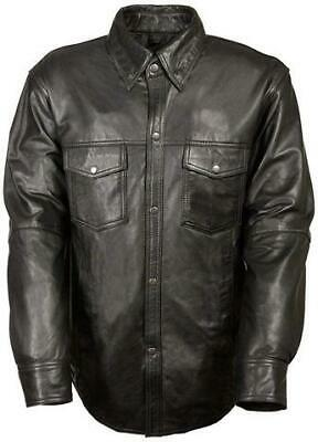 $69.99 • Buy Mens Motorcycle Casual Light Weight Full Sleeve Leather Shirt With Snap Buttons