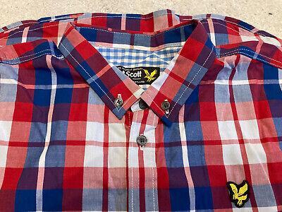 Lyle & Scott Boys Short Sleeve Red Check Shirt Age 14/15 Years • 2.20£