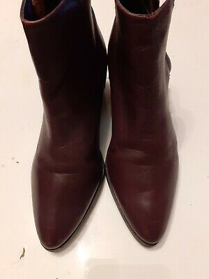Topshop's Women's  Burgundy  Leather  Ankle Boots UK Size 5 EU 38 • 8.60£