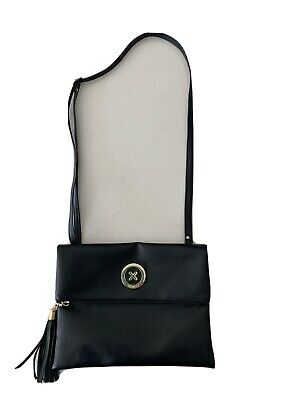 AU28 • Buy Mimco Black Leather Bag- Cross Body, Sits On Hip. Excellent Condition!