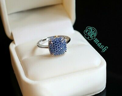 Hallmarked 925 Sterling Silver Ring,Blue Sapphire Cz Ring,stack Minimal Dainty • 15.50£