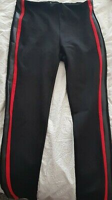 Yu And Me Black Leggings With Faux Leather And Red Stripe To Sides Size L • 8.99£