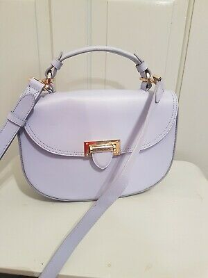 Aspinal Of London Saddle Bag Letterbox Lilac Purple Light Smooth Leather Shoulde • 135£