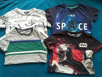 Bundle Of 4 Boys T-shirts Size 9 - 10 Yrs Star Wars Space Blue Zoo M&S  • 7£