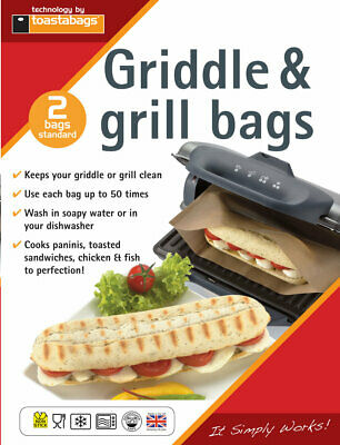 Panini Griddle & Grill Bags - 2 Bags Reuse Upto 50 Times Each The Perfect Panini • 3.99£