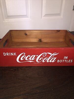 Red Vintage Style Wooden Coca Cola Crate Tray Wood Box • 25£