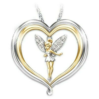 £2.99 • Buy Lovely Silver Tone Crystal Heart Tinkerbell Fairy Necklace. In Organza Gift Bag