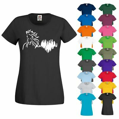 HORSE HEART Rate Life Logo Riding Showjumping Dressage New Ladies T-Shirt Top • 7.99£