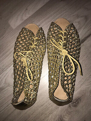 Topshop Gold Gladiator Cage Sandals Mules Limited Size 7 • 9.50£