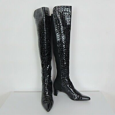 Stuart Weitzman Black Over Knee Boots Size 6 (38.5) Croc Style Leather • 59.99£