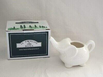 La Porcellana White Elephant Milk Jug Creamer Ornament 6x4 Inch With Box • 8.99£