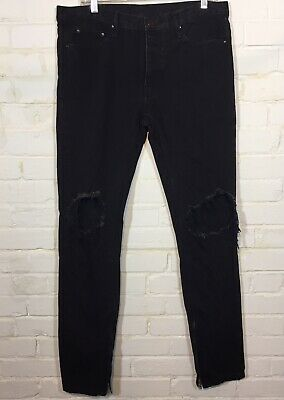 $ CDN34 • Buy MNML Denim Jeans Men's Size 34 Distressed Zipper Ankle Button Fly Black Tapered