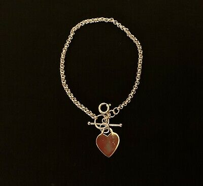 Sterling Silver Heart Disc T-bar Bracelet • 27£
