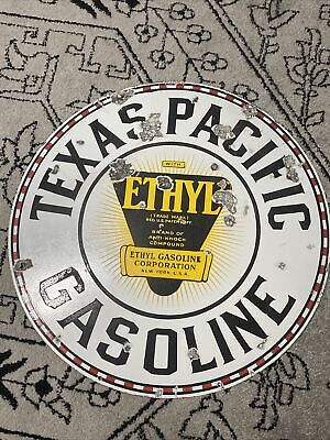 """$ CDN1722.47 • Buy Vintage Porcelain 30"""" TEXAS PACIFIC GASOLINE Gas Oil Station Double Sided Sign"""