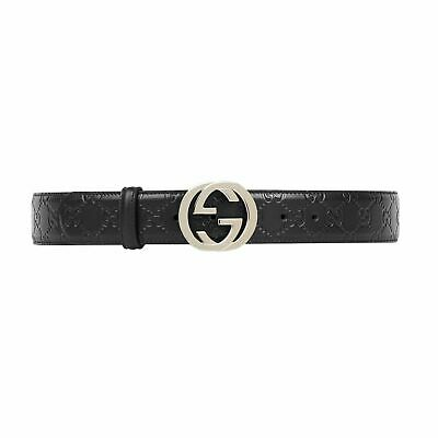 AU300 • Buy Mens Gucci Luxury GG Signature All Over Logo Leather Belt  Size 110/44