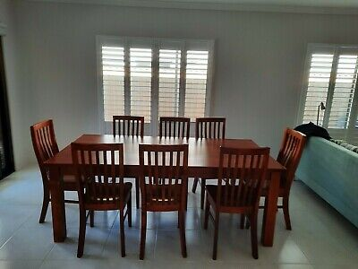 AU880 • Buy Solid Wood Dining Table And 8 Chairs With Matching TV Cabinet.