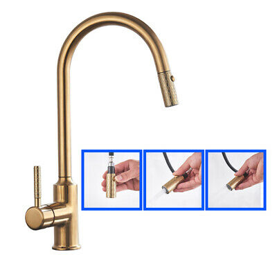 £34.55 • Buy Brushed Gold Kitchen Faucet Pull Out Single Handle Mixer Tap 360 Rotation