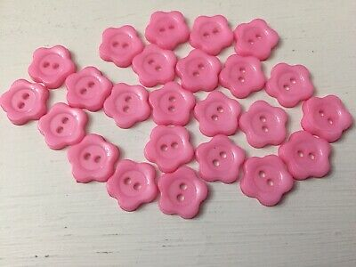 24 Pink Flower Baby/ Children's Cardigan Buttons 11 Mm 2 Hole • 2.95£