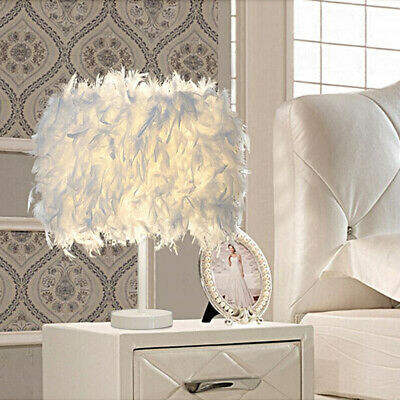 White Feather Shade Table Lamp Lampshade Shaped Iron Bedside Desk Night Lights • 22.69£