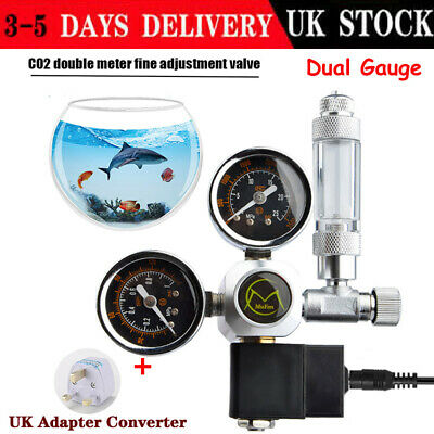 Aquarium Fish Tank 2 Gauge CO2 Pressure Regulator Bubble Counter Solenoid Valves • 44.78£
