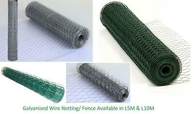 New Galvanised Chicken Rabbit Wire Netting Mesh Net Fence 5m & 10m Rolls • 8.99£