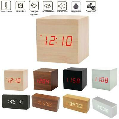 Wood Lightweight Fashion Digital Alarm Clock Voice Control Calendar USB/AAA New • 8.98£