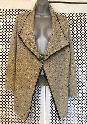Vintage Jaeger Open Front Cardigan With Metallic Threads And Faux Leather Trim M • 6.99£