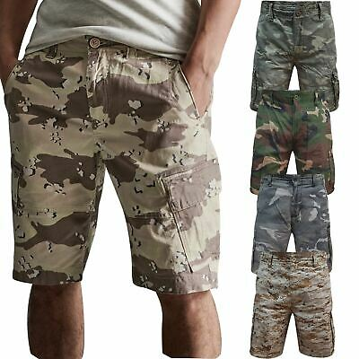 Mens AIRWALK Army Work Cargo Combat Camouflage Shorts Cotton Chino Half Pant • 11.99£