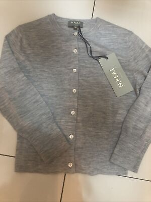 N. Peal Ladies 100 %  Cashmere Cardigan Brand New Size Xs Grey • 95£