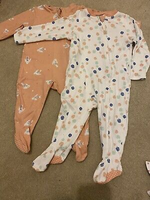 6-9 Months Pair Of Zip Up Sleepsuits • 3.10£