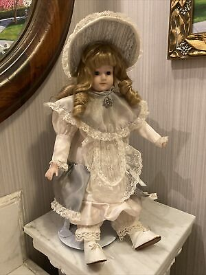 """$ CDN42.11 • Buy Vintage Victorian Porcelain Doll Music Box With Stand And Vintage Pin 15""""  High"""