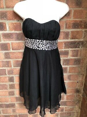 Gorgeous Strapless Beaded Boned Party Dress- Size 10 - SELECT - LBD • 5.55£