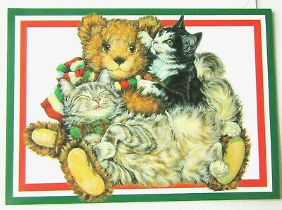 $ CDN1.89 • Buy Vintage Christmas Card Kittens With Stuffed Bear Smiling Kitten With Bow Tie