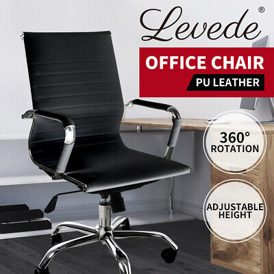 AU109.99 • Buy Office Chair Home Work Study Gaming Chairs PU Mat Seat Mid-Back Computer Black