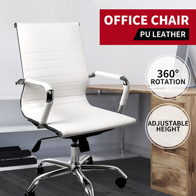 AU119.99 • Buy Office Chair Home Work Study Gaming Chairs PU Mat Seat Mid-Back Computer White