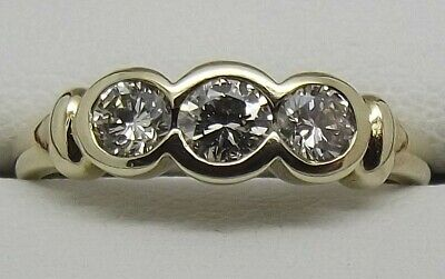 AU894 • Buy Solid 9ct Yellow Gold Natural Diamond Engagement/dress Ring Size L1/2-val $2209