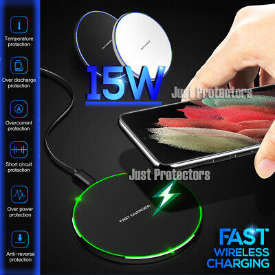 AU13.99 • Buy 15W Qi Fast Charging Wireless Charger Pad For Samsung Galaxy S21 Ultra S21+ Plus
