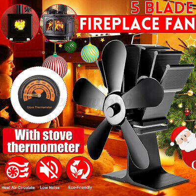 5 Blades Heat Powered Stove Top Fan Wood Burner Fire Log Burning Eco Thermometer • 19.98£