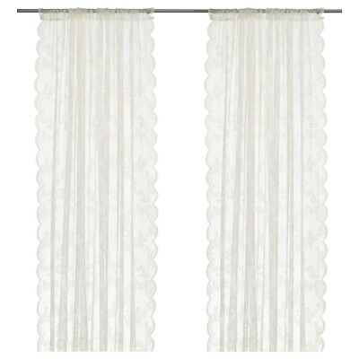 IKEA ALVINE SPETS Curtains,1 Pair,off-white,145x250 Sheer Fabric Provide Privacy • 19.50£