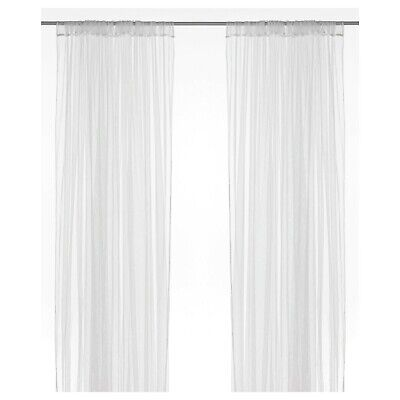 IKEA LILL Sheer Net Curtains 1 Pair White Long Curtains 280x250 Provide Privacy • 8.50£