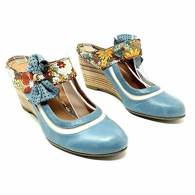Staccato Blue Floral Mary Jane Wedge Shoes Heels UK 5 EU 38 Slide On • 12£