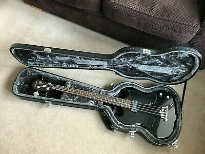 Epiphone EB-O Bass, Black, Good Condition, Excellent Case, LACE Alumitone P/up. • 180£