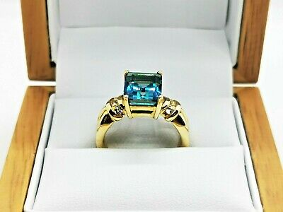 Blue Topaz Cocktail / Fashion Ring In 9ct Gold Free Insured Shipping #Xx • 219.99£