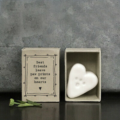 East Of India White Porcelain PAW PRINT HEART In Vintage Matchbox BEST FRIENDS • 5.95£