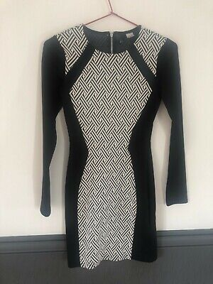 H&M Bodycon Dress, Black/White, UK10 • 3£