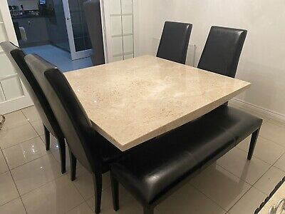 Portofino Stone Square Dining Table Set Luxury Stone, Leather Chairs + Bench • 1,750£