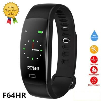 AU34.99 • Buy Fitbit Style Smart Watch Band Heart Rate Blood Pressure Monitor F64HR-Black