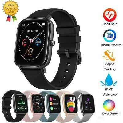 AU46.91 • Buy Fitbit Style Smart Watch Heart Rate Blood Pressure Monitor, 200+ Faces Black